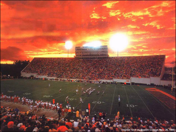 Sunset over Lane Stadium Blacksburg - Hokie Nation