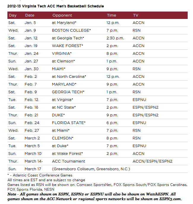Virginia Tech Hokies Basketball ACC Basketball Schedule